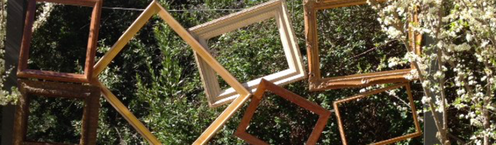 Picture frames in a landscape