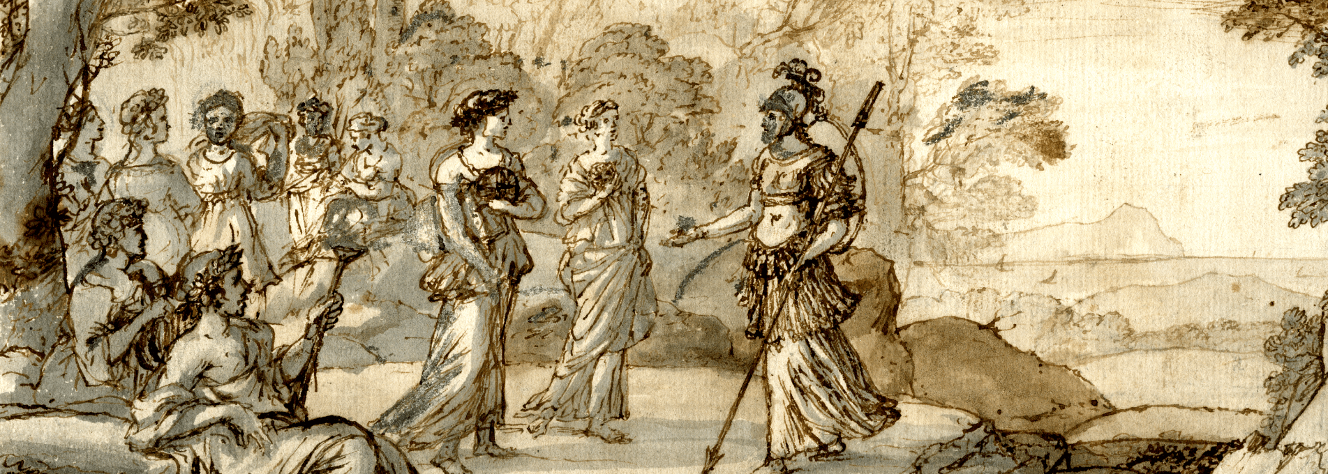 Claude Lorrain, Parnassus with Minerva visiting the Muses (detail) © The Trustees of the British Museum. Shared under a Creative Commons Attribution-NonCommercial-ShareAlike 4.0 International (CC BY-NC-SA 4.0) licence.